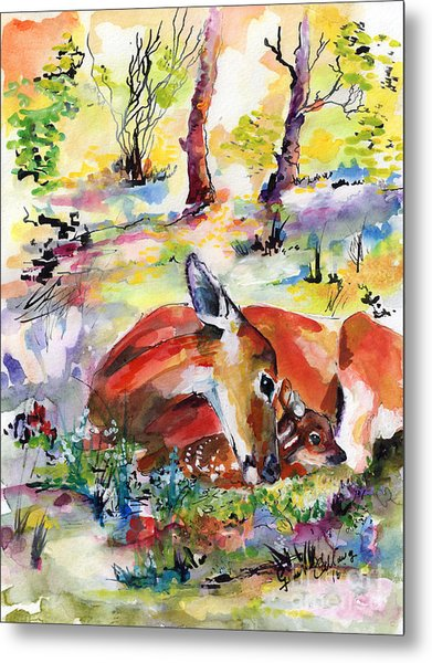 Forest Life Doe And Fawn Watercolor Metal Print