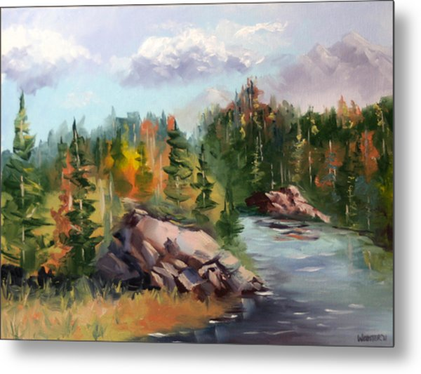 Forest River Landscape Oil Painting By Artist Mark Webster. Metal Print