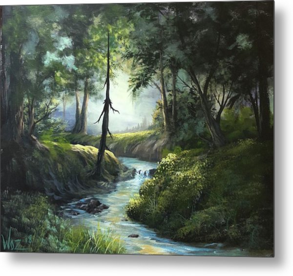 Forest River  Metal Print by Paintings by Justin Wozniak