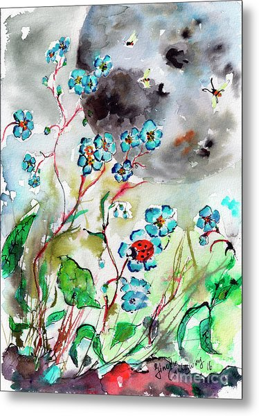 Forget Me Not And Super Moon Watercolor Metal Print