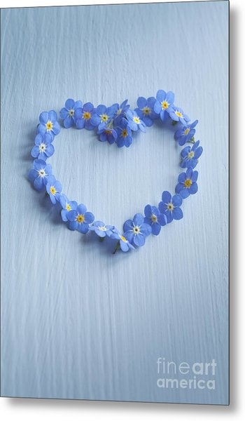 Forget Me Not Heart Metal Print