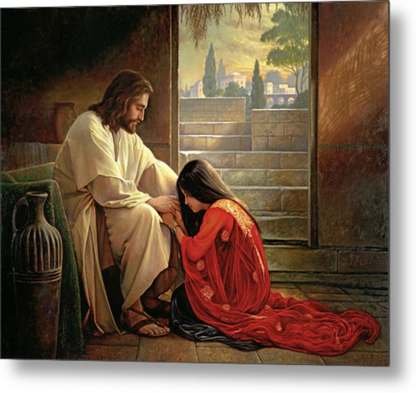 Metal Print featuring the painting Forgiven by Greg Olsen
