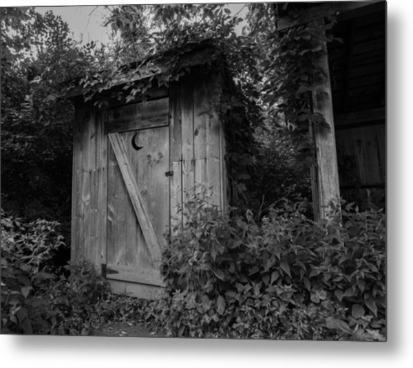 Forgotten Outhouse Metal Print by Denise McKay