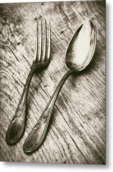Fork And Spoon Metal Print