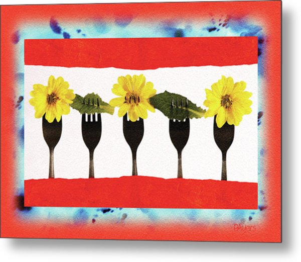 Forks And Flowers Metal Print