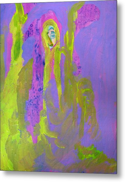 Forlorn In Purple And Yellow Metal Print