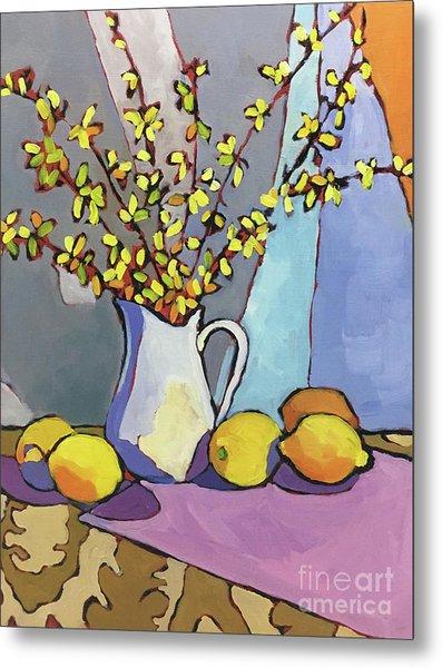 Forsythia And Lemons Metal Print by Catherine Martzloff