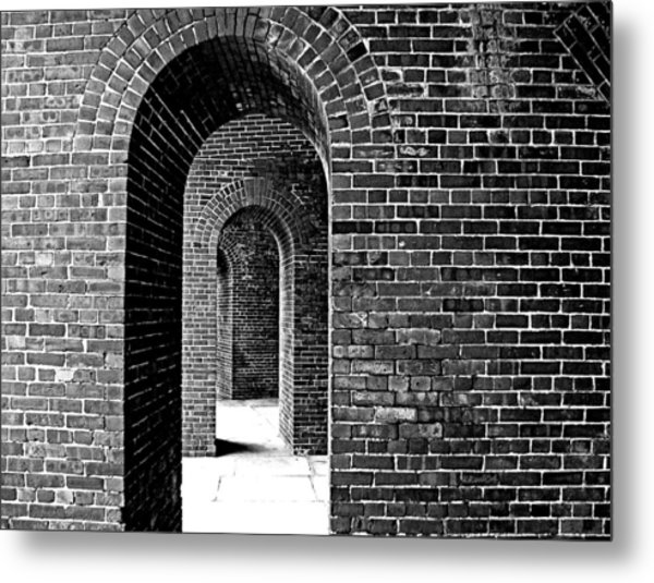 Fort Arches In Black And White Metal Print