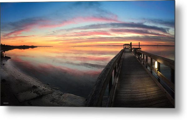 Fort Fisher Sunset Reverie With Heron Metal Print