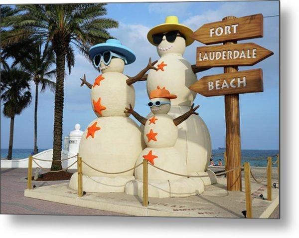 Fort Lauderdale Snowman Metal Print