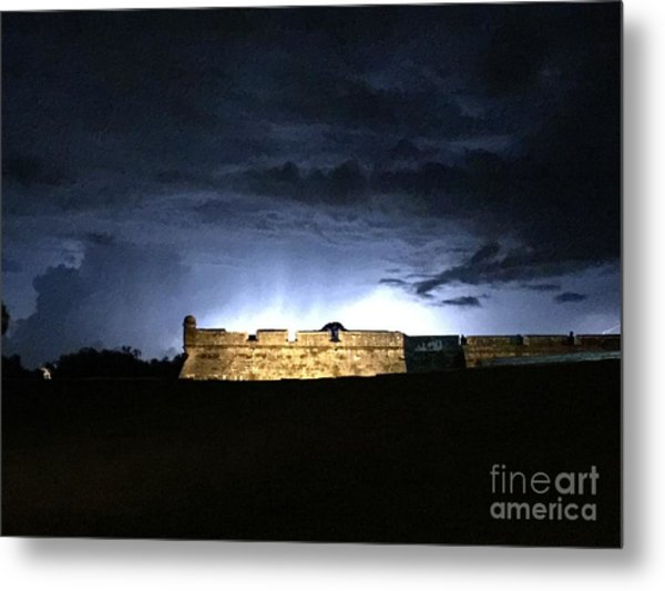 Lightening At Castillo De San Marco Metal Print