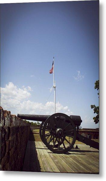Fort Pulaski Cannon And Flag Metal Print