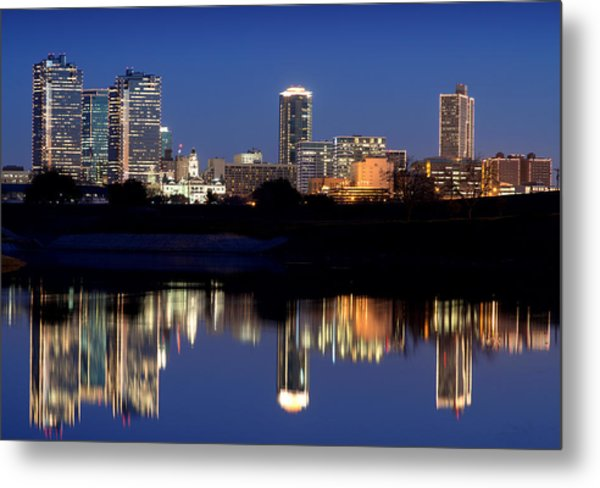 Fort Worth Reflection 41916 Metal Print