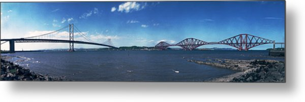 Forth Road And Railway Bridges Metal Print by Donald Buchanan