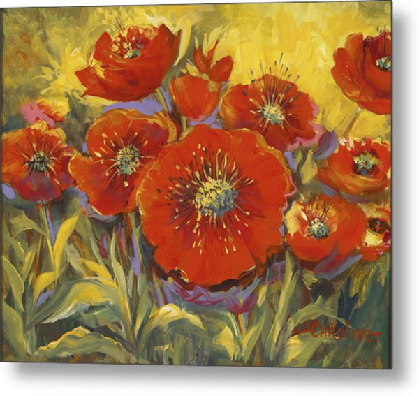 Fortuitous Poppies Metal Print