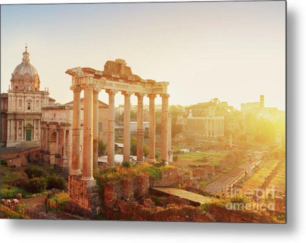 Forum - Roman Ruins In Rome At Sunrise Metal Print