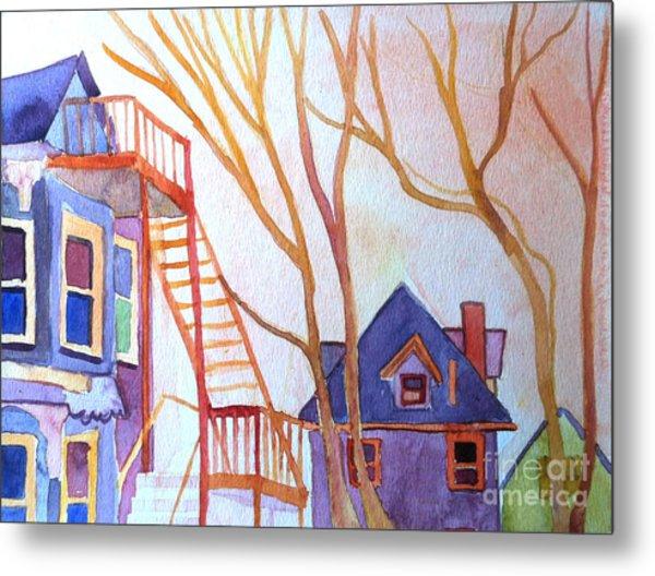 Foster Street Lowell Watercolor Metal Print by Debra Bretton Robinson