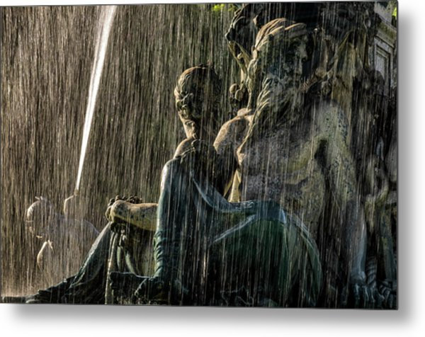Fountain At Rossio Square Metal Print
