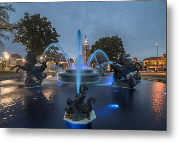 Fountain Blue Metal Print