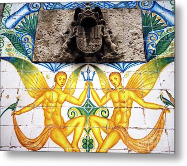 Fountain Tile Design In Barcelona Metal Print by John Rizzuto