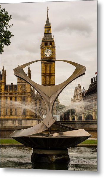 Fountain With Big Ben Metal Print