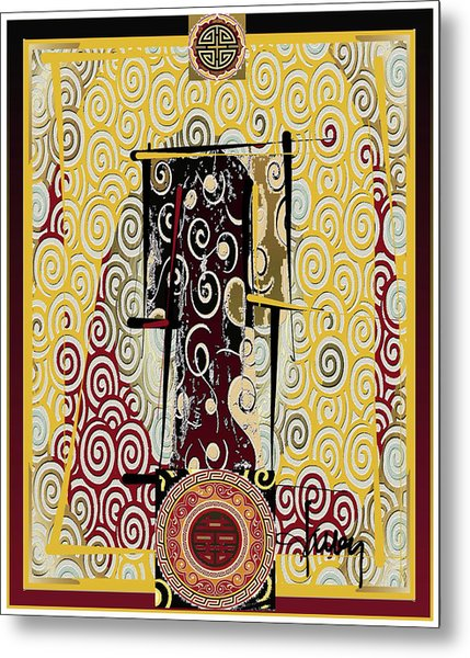 Metal Print featuring the mixed media Four Blessings Double Happiness Japanese Kimono by Larry Talley