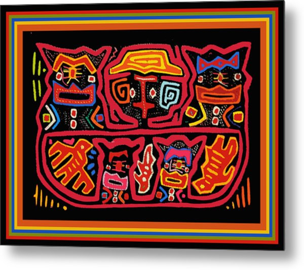 Four Cats Three Birds Metal Print