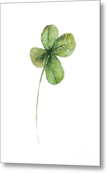 Four Leaf Clover Watercolor Poster Metal Print