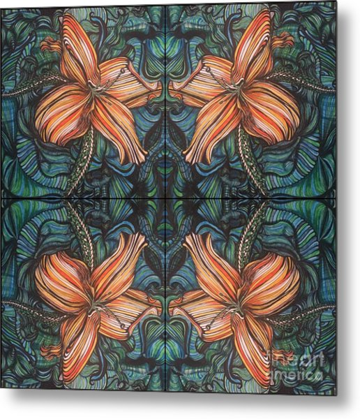 Four Lilies Looking In Metal Print