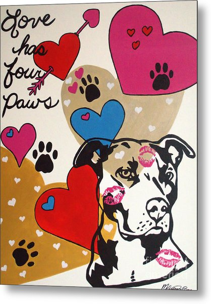 Four Pitty Paws Metal Print