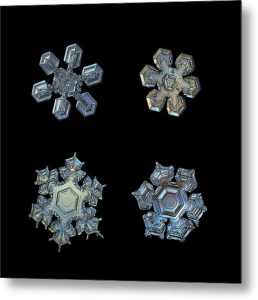 Four Snowflakes On Black 2 Metal Print
