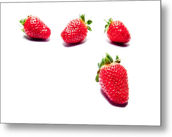 Four Strawberries Metal Print