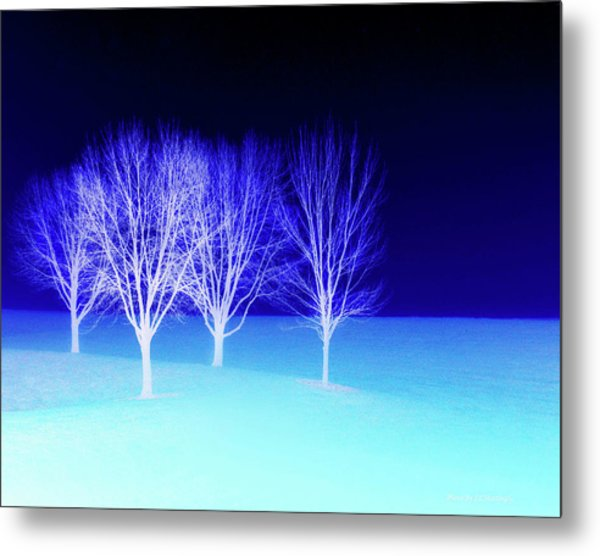Four Trees In Snow Metal Print