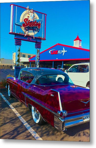 Fourth Of July Classic Car At Skeeters Metal Print
