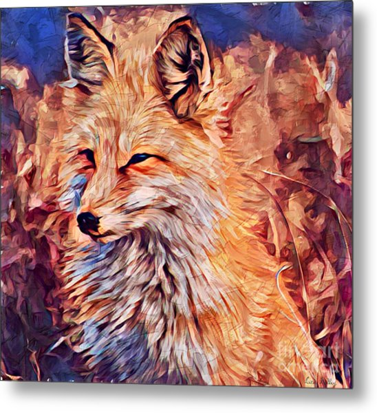 Metal Print featuring the painting Fox 2 by Lita Kelley