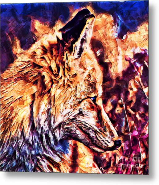 Metal Print featuring the mixed media Fox 3 by Lita Kelley