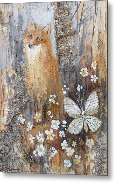 Fox And Butterfly Metal Print