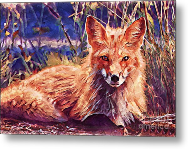 Metal Print featuring the painting Fox by Lita Kelley