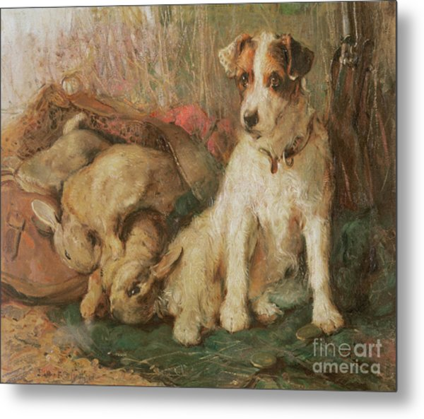 Fox Terrier With The Day's Bag Metal Print