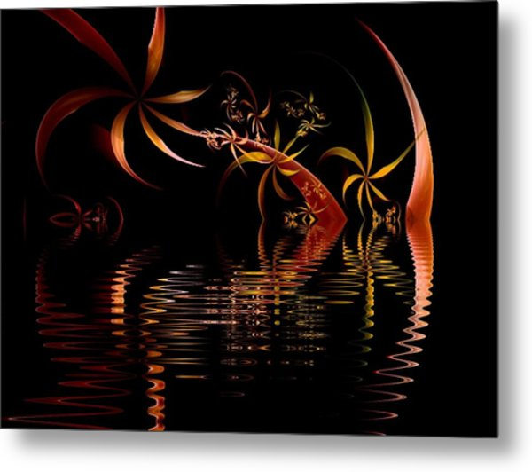 Fractal Fireworks Reflections Metal Print