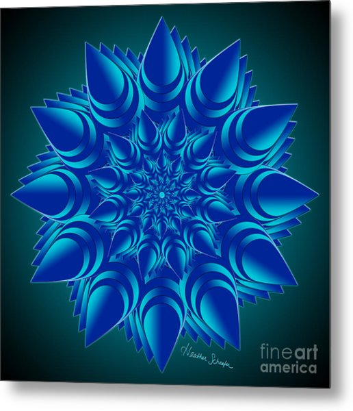 Fractal Flower In Blue Metal Print