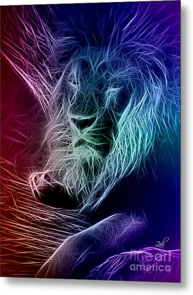 Fractalius Lion Metal Print
