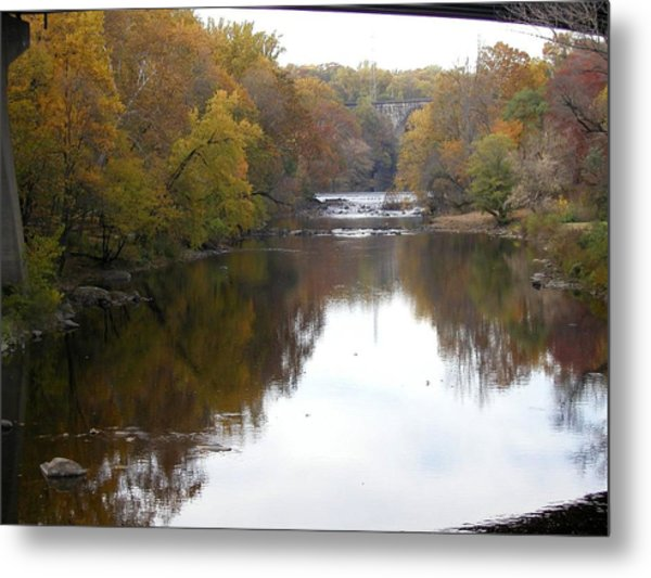 Framed Autumn River Metal Print