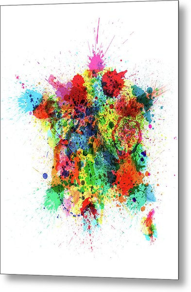 France Map Paint Splashes Metal Print