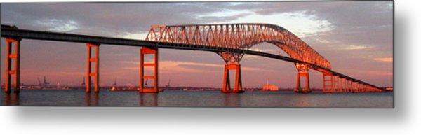 Francis Scott Key Bridge At Sunset Baltimore Maryland Metal Print by Wayne Higgs