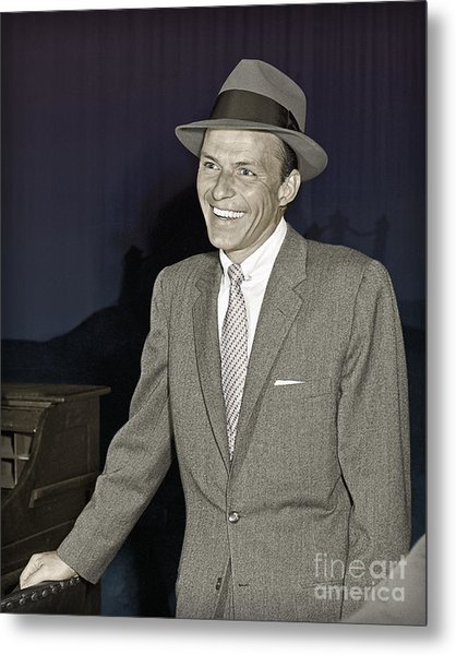 Frank Sinatra On Set Metal Print