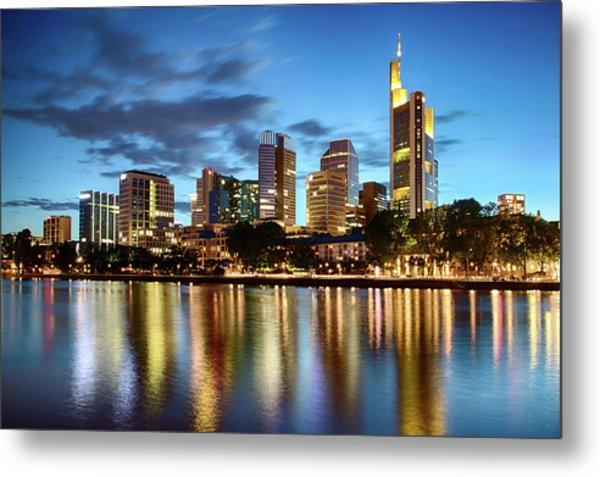Metal Print featuring the photograph Frankfurt Skyline At Night by Marc Huebner