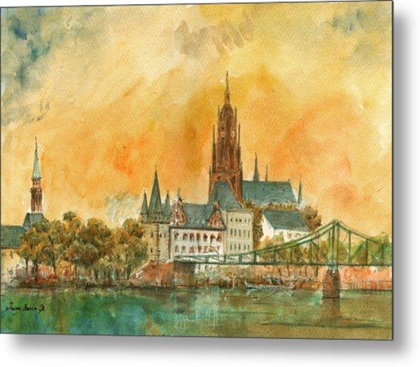 Frankfurt Watercolor Metal Print