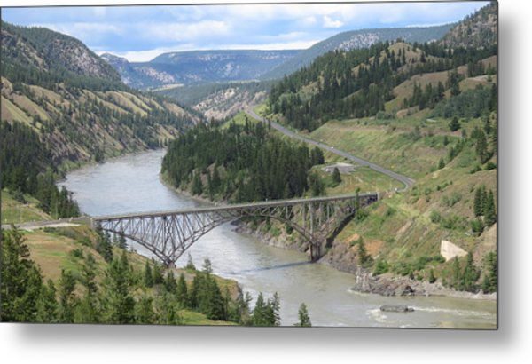 Fraser River Bridge Near Williams Lake Metal Print