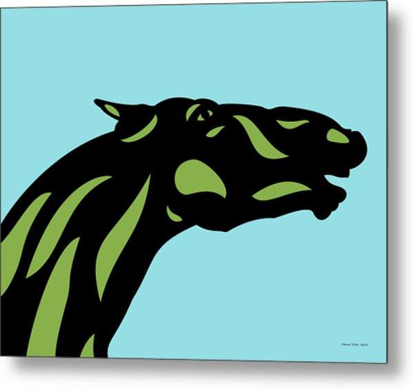 Fred - Pop Art Horse - Black, Greenery, Island Paradise Blue Metal Print